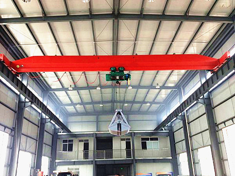 top running single girder grab crane supplier